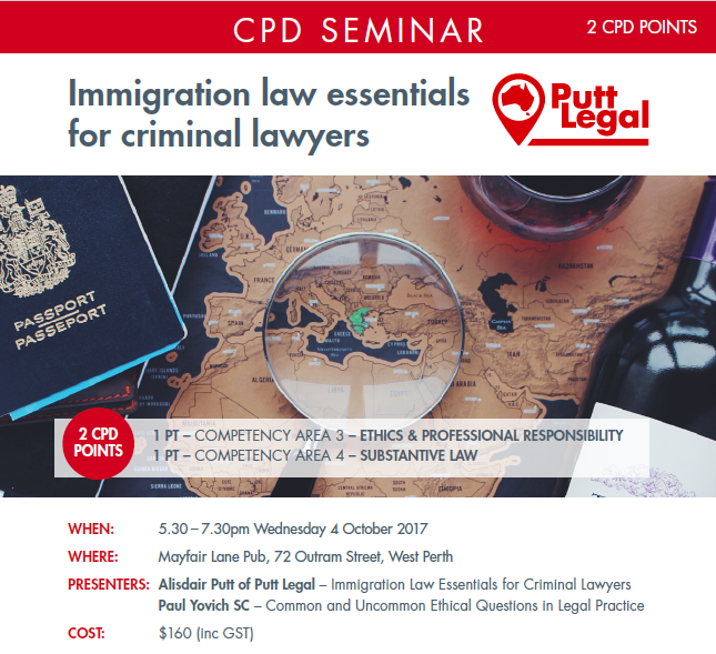 Putt Legal CPD Seminar – Immigration law essentials for criminal lawyers