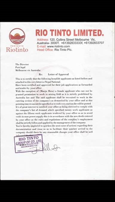 SCAM ALERT – Putt Legal does not act for Rio Tinto re employment & Australian visa offers
